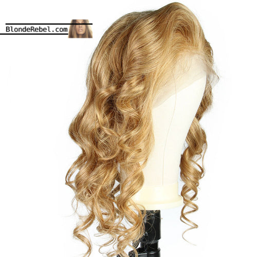 Wavy Dame (Body Wave Honey Blonde, 13x6 Lace Front 100% Remy Human Hair Wig, 8