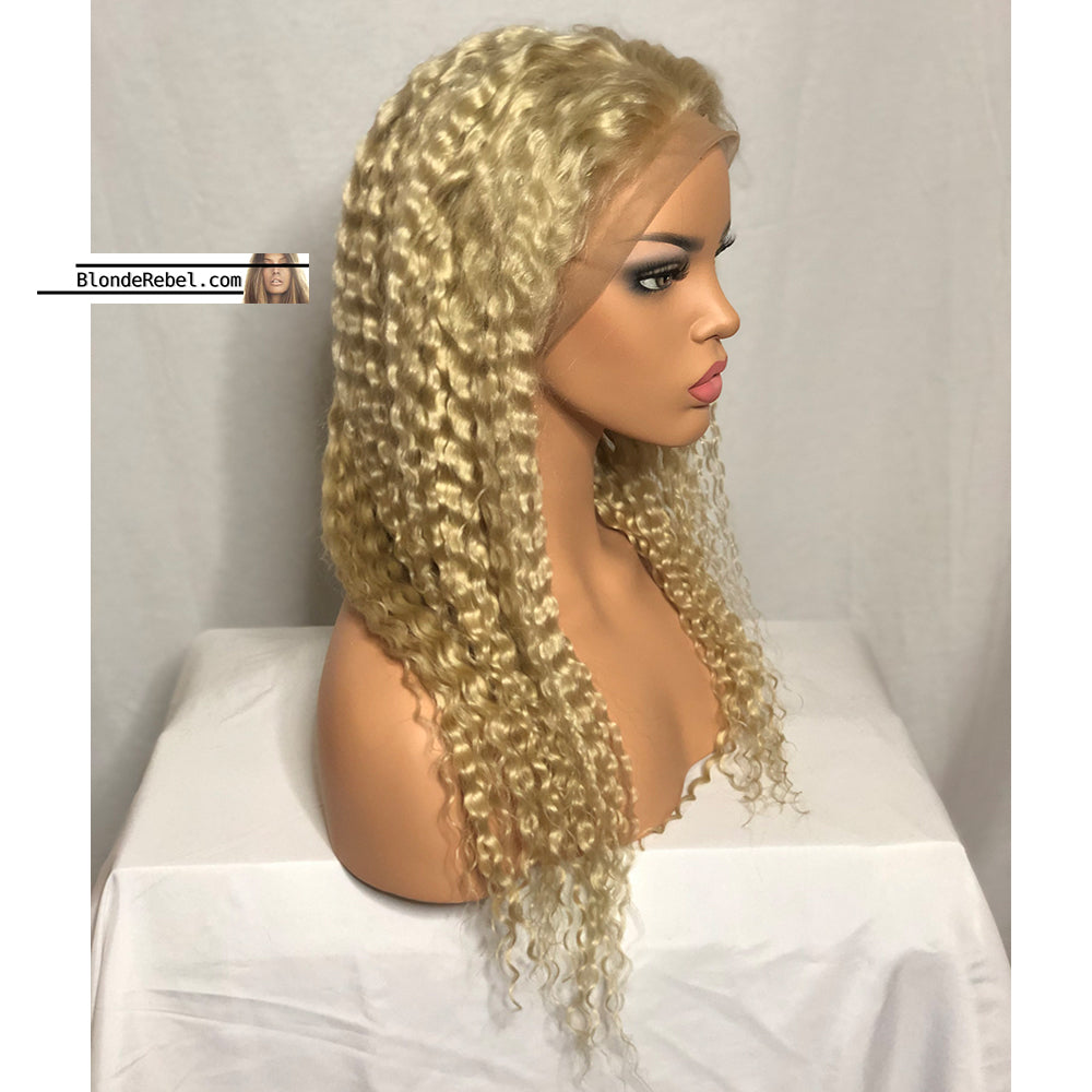 WW Blondie (613 Deep Wave 13x6 LF 100% Remy Human Hair Wig, 20