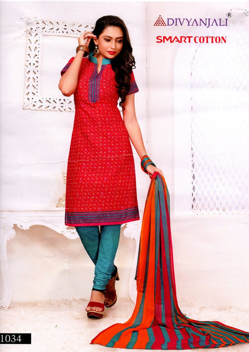 Radiant Red Cotton Salwar Material
