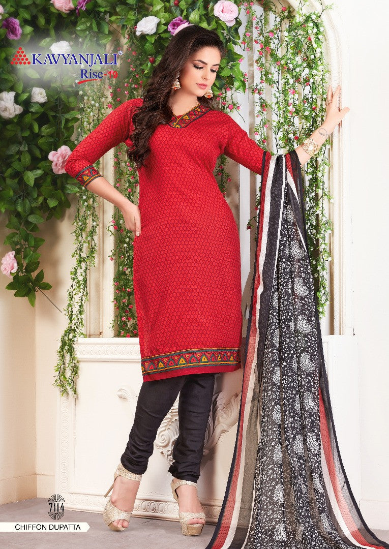 Stylish Red & Black Cotton Salwar material