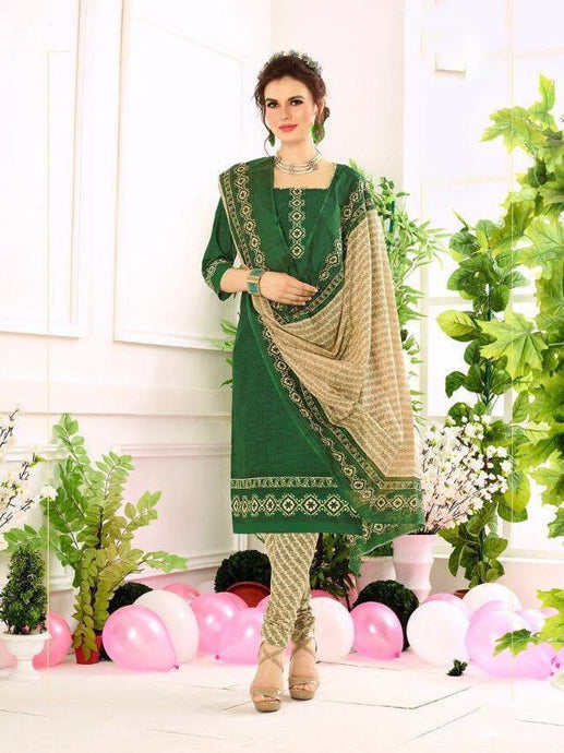 Trendy Green cotton Dress Material
