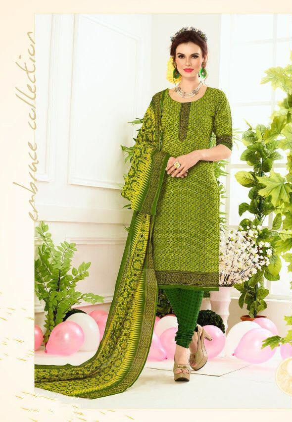 Lovely Green Cotton Dress Material