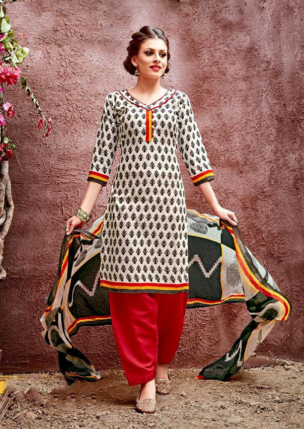 Black & Red cotton Salwar Suit