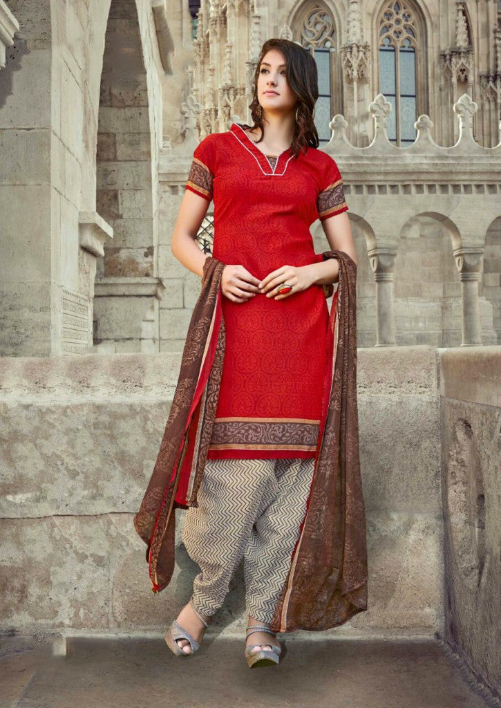 Sparkling Red Cotton Salwar Material