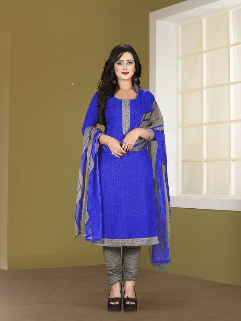 Radiant Blue Spun Cotton Dress Material