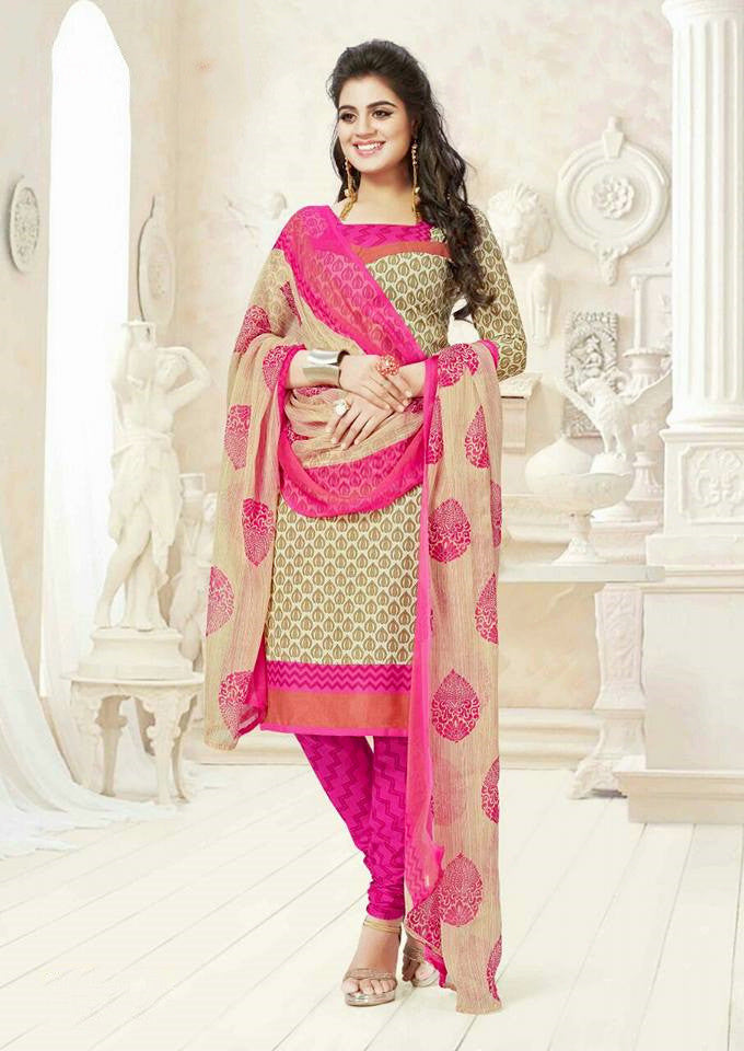 Grey & pink Spun Cotton Salwar Dress Material