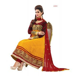 Gorgeous Yellow Anarkali Suit Material