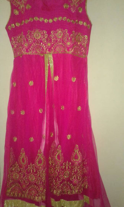 Charming Pink Net Anarkali Suit