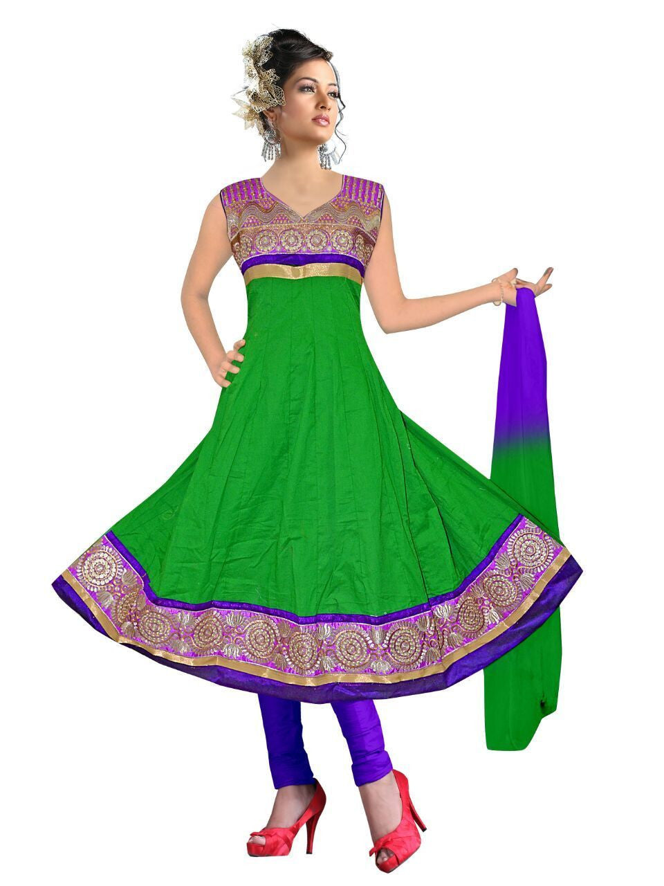 Readymade Green  Cotton Anarkali Suit