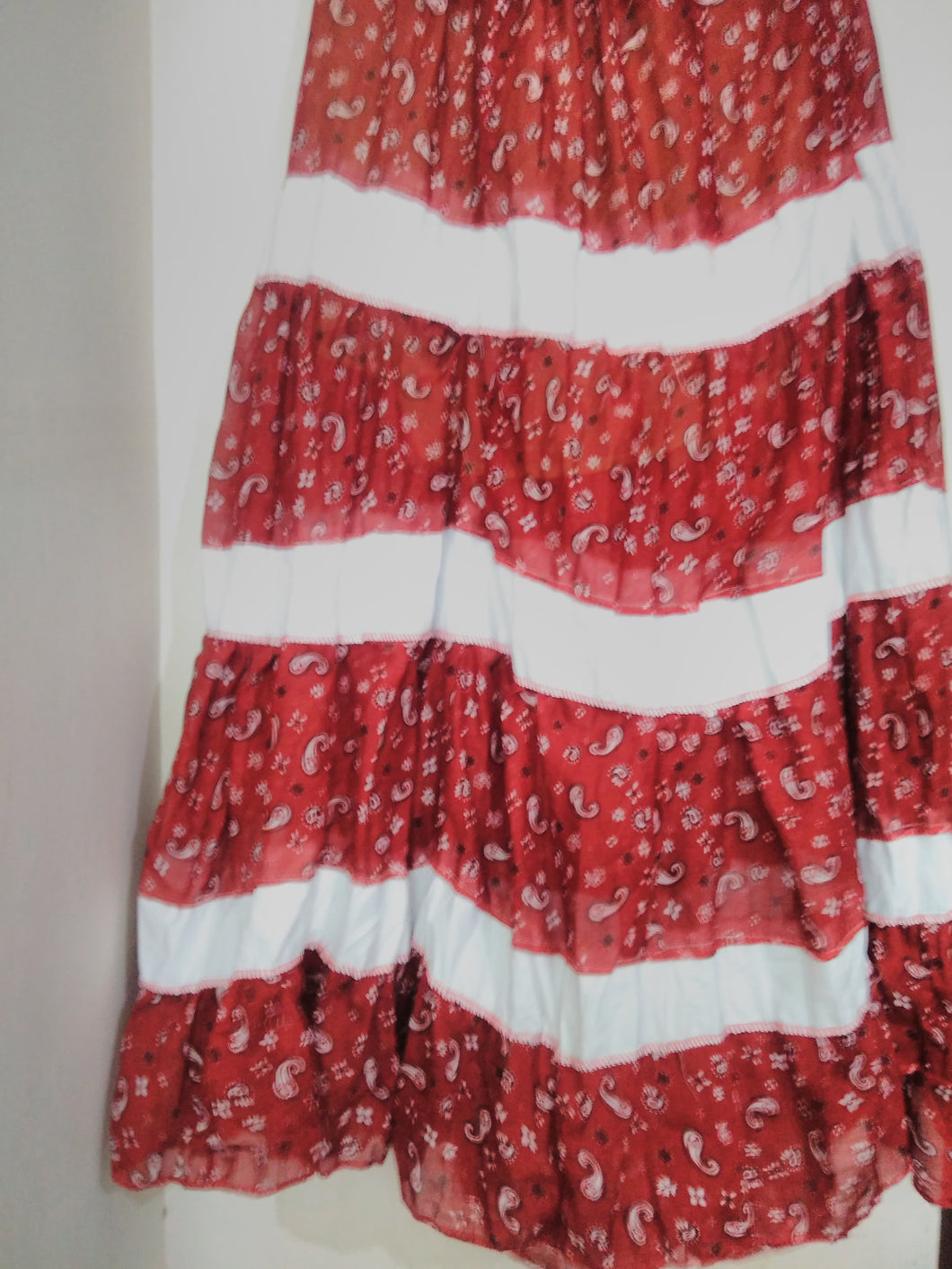 Red Cotton Patch Long Skirt