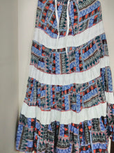 Blue and White Cotton Patch Long Skirt