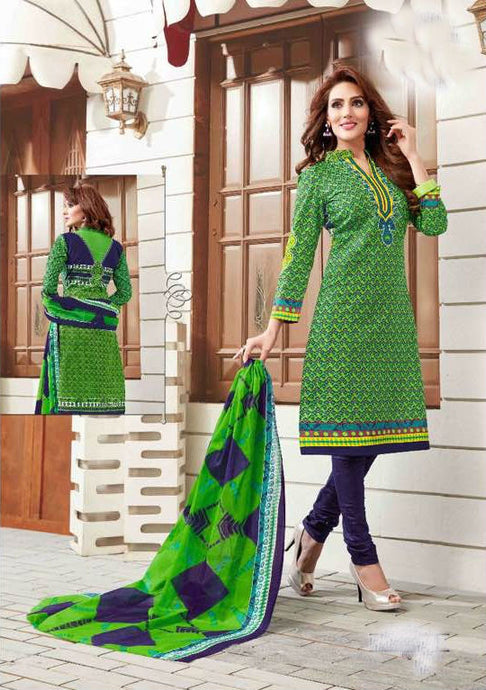 Radiant Green Cotton Salwar Material