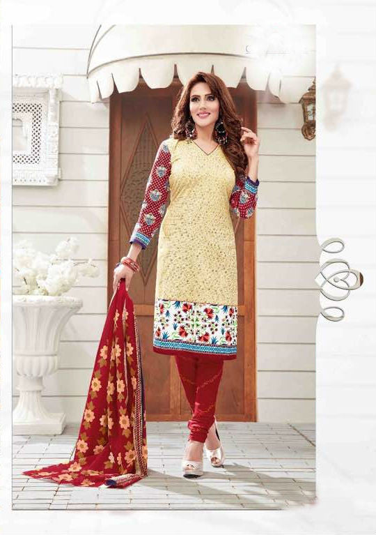 Elegant Cream Cotton Salwar Material