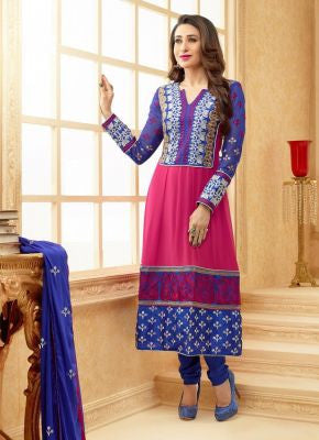 Gorgeous Blue And Pink Georgette Anarkali Suit