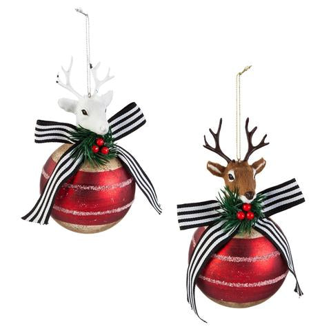 FURRY STAG ON GLASS BALL ORNAMENT