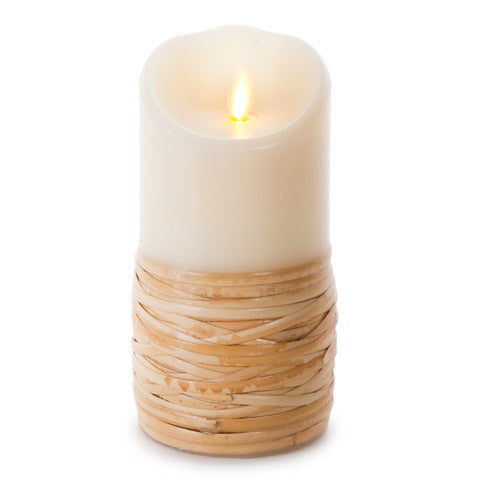 LUMINARA UNSCENTED REED-WRAPPED FLAMELESS PILLAR CANDLE 3.5X7""