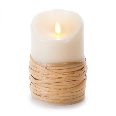 LUMINARA UNSCENTED REED-WRAPPED FLAMELESS PILLAR CANDLE 3.5X5""