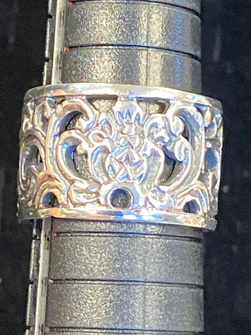 925 STERLING SILVER WIDE FILIGREE FLORAL BAND