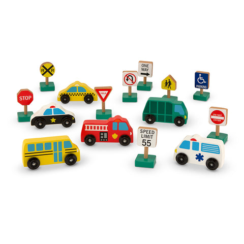 Wooden VEHICLES and TRAFFIC SIGNS Play Set by Melissa and Doug