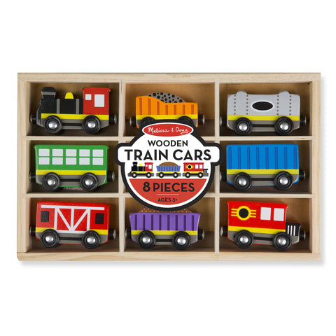 Wooden TRAIN CARS 8 Piece Play Set by Melissa and Doug