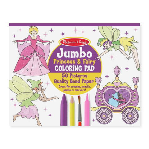 JUMBO COLORING PAD - PRINCESS AND FAIRY by Melissa and Doug