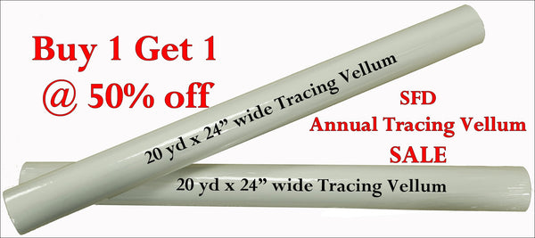 2 x 20 yd Tracing Vellum - Buy one get 1/2 price of the same size