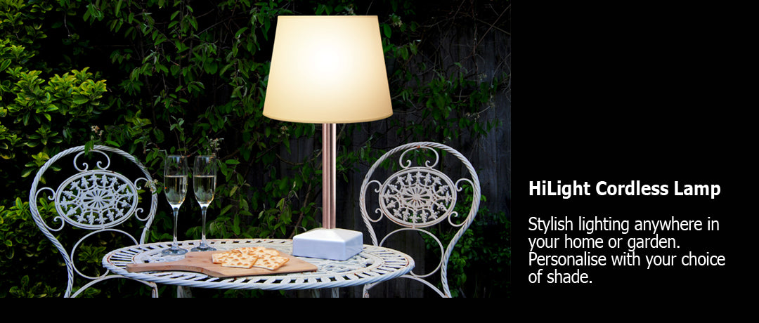 HiLight cordless table lamp in summer garden