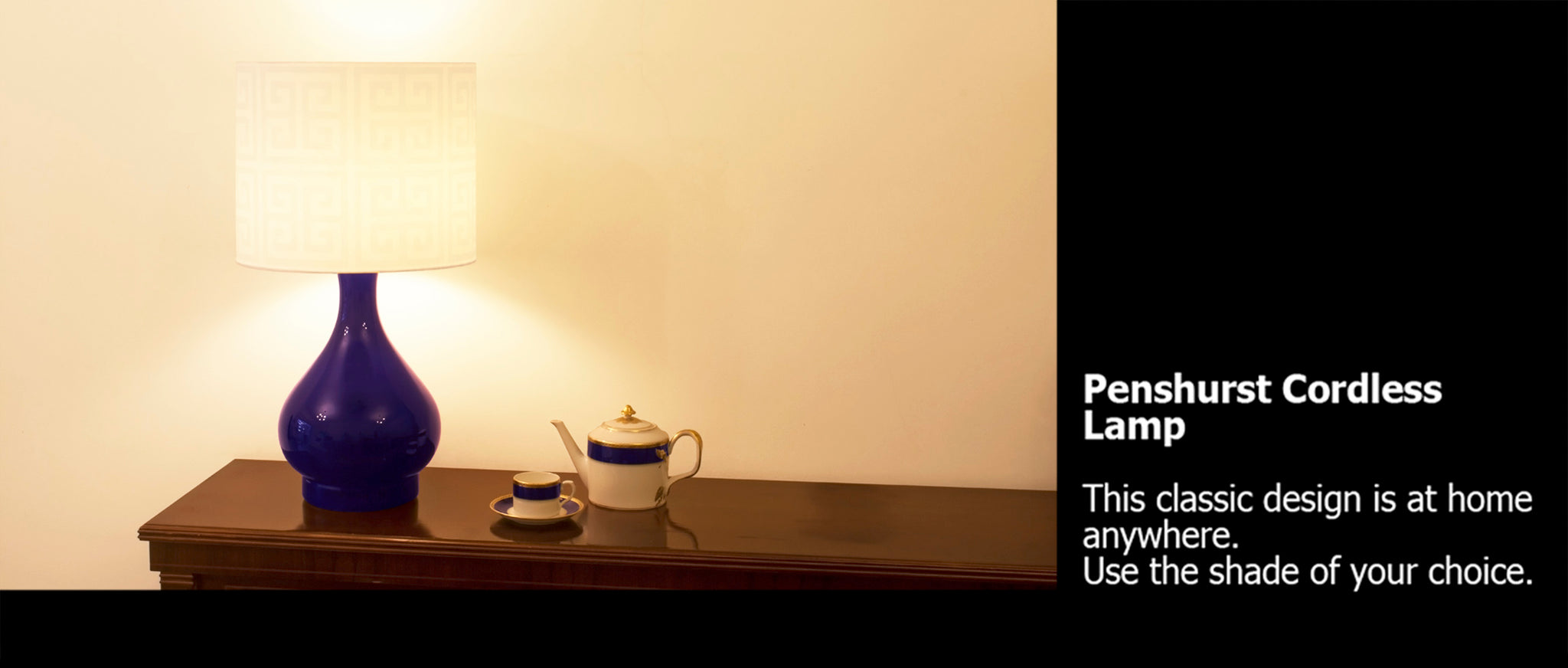 Penshurst cordless table lamp royal blue with teaset