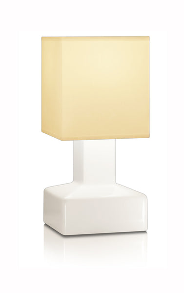 Compact battery rechargeable cordless table lamp beige square shade