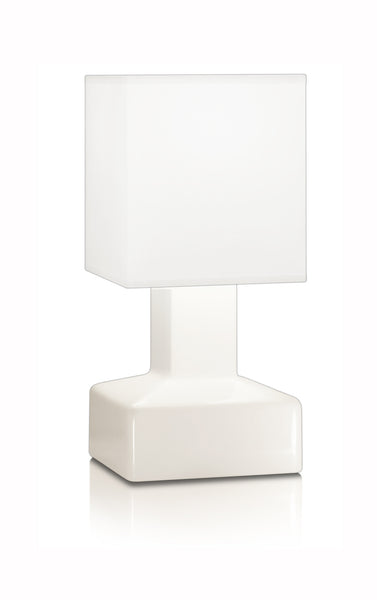 Compact battery rechargeable cordless table lamp White Square Shade