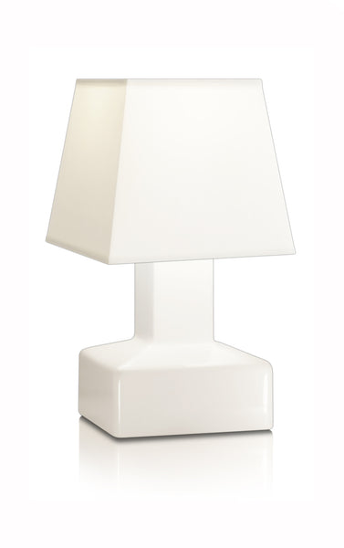 Compact battery rechargeable cordless table lamp white angled shade