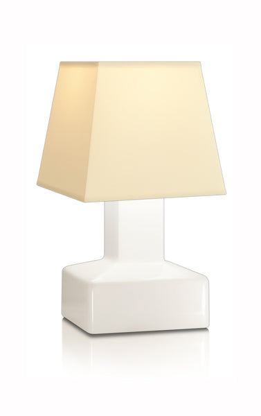 Compact battery rechargeable cordless table lamp beige angled shade
