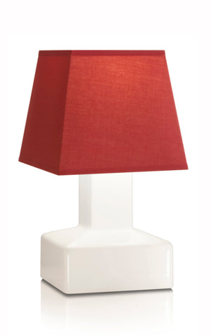 Compact battery rechargeable cordless table lamp red angled shade