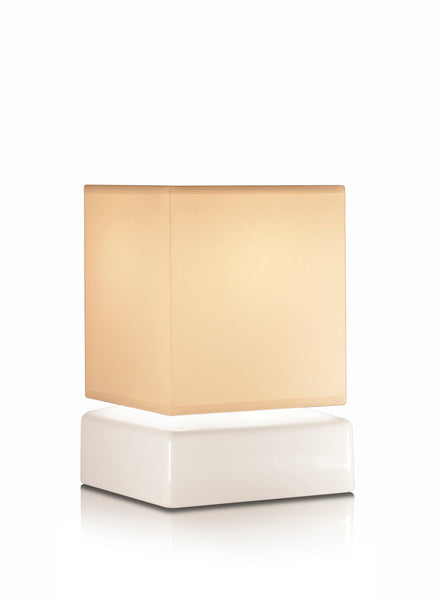 Cube battery rechargeable cordless table lamp beige shade