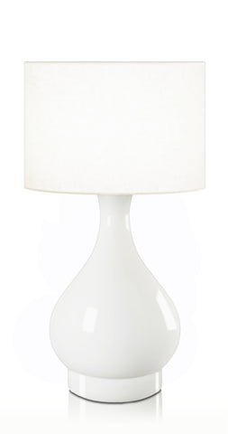 Penshurst Ivory Cordless Table Lamp White Fabric Drum Shade 38cm