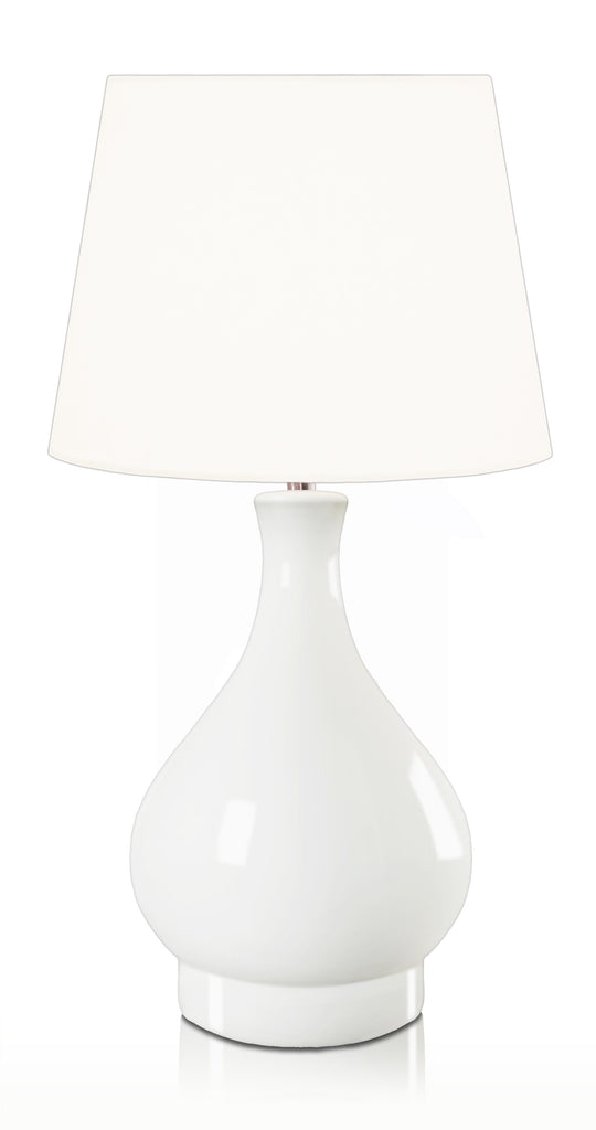 Penshurst Ivory Cordless Table Lamp White Conical Fabric Shade 40cm