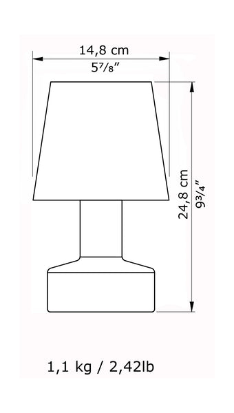 Compact battery rechargeable cordless table lamp dimensions