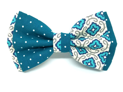 Turquoise and Teal Split Bowtie