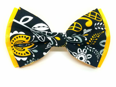 Black and Yellow Floral Bowtie