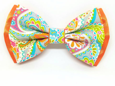 Orange Sherbet Paisley Bowtie