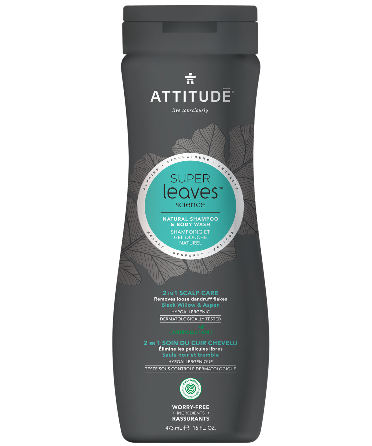 Shampoo Natural y Gel de baño Attitude - Anticaspa 473 ml