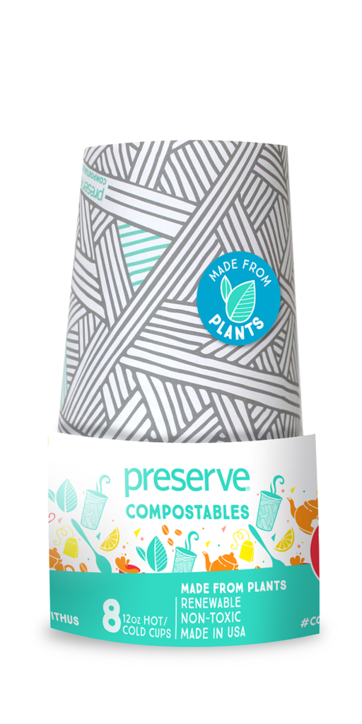 Vasos Compostables x 8 (12oz) - Color Gris