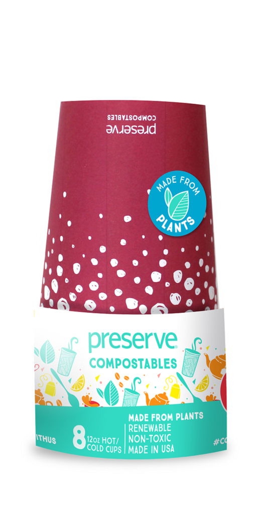 Vasos Compostables x 8 (12oz) - Color Rojo