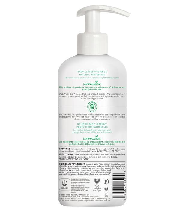 Shampoo & gel de baño natural Attitude - Baby Leaves Sweet Apple 473ml