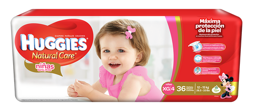 Huggies Natural Care Girls XG/4 Mega 36 unidades