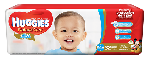Huggies Natural Care Boys XXG/5 Mega 32 unidades