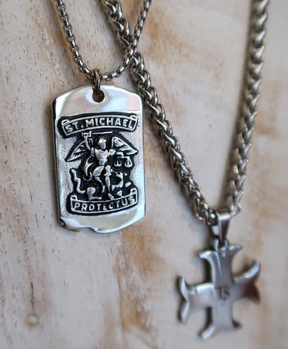 Pendentif Saint-Michel rectangulaire en inox - New collection 2020