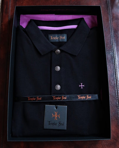 Polo noir 100% coton manches longues / Made in Portugal