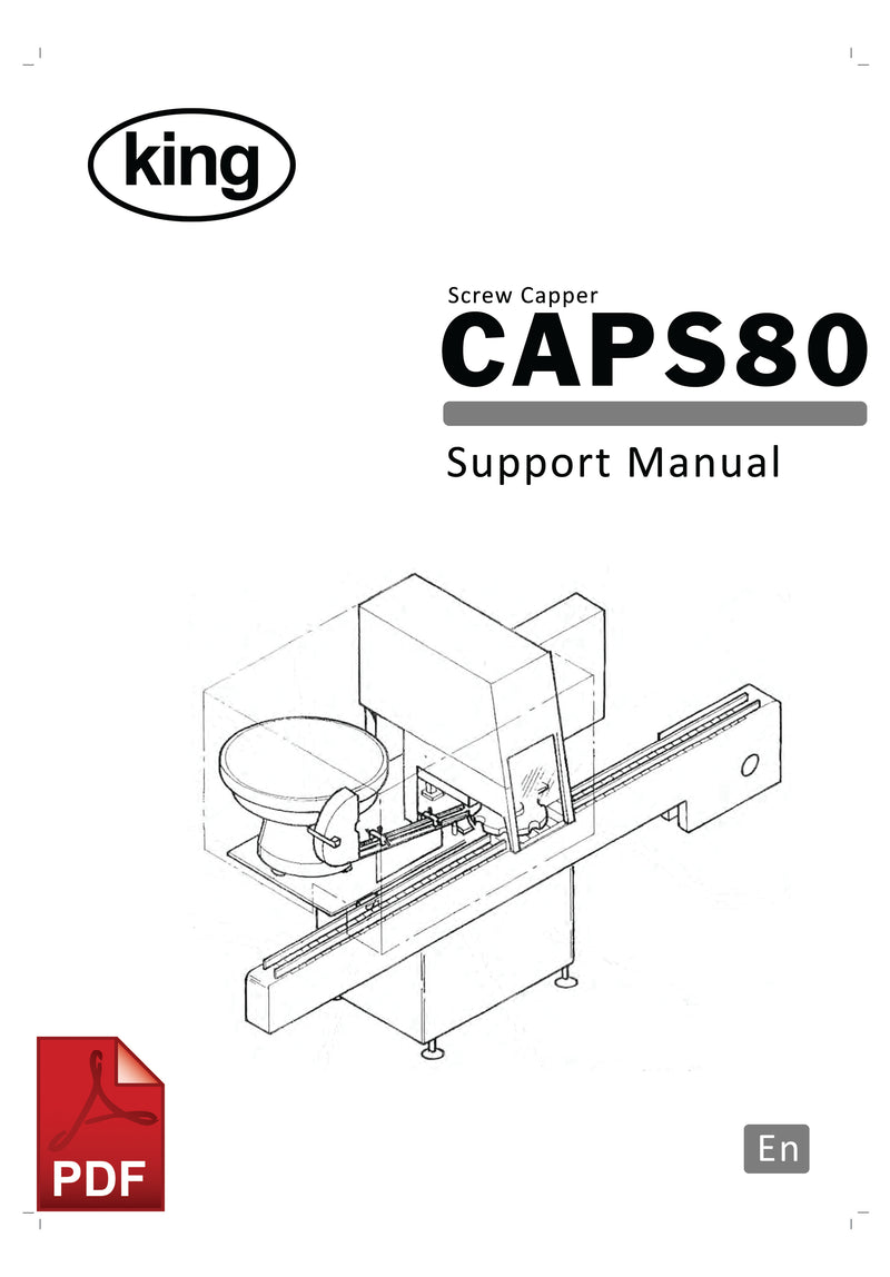 King CAPS80 Screw Capper User Instructions and Servicing Manual