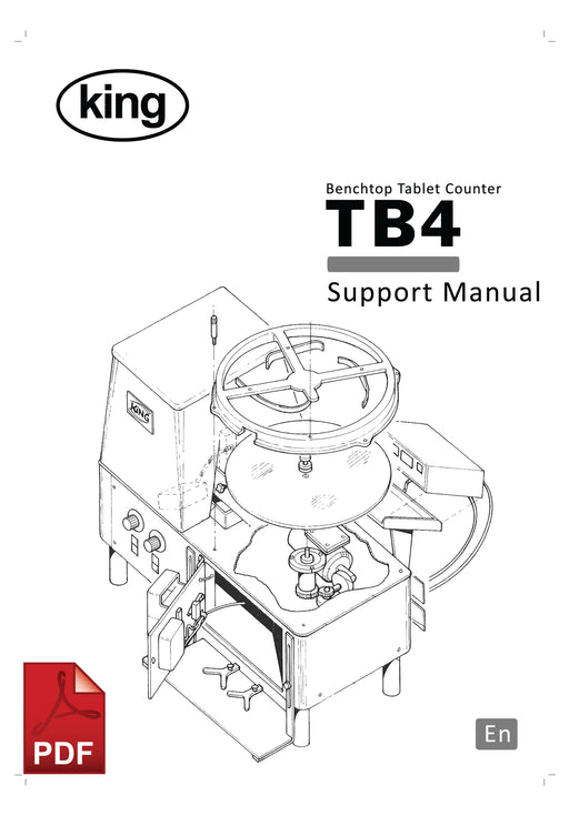King TB4 Tablet Counter Service and Spare Parts Manual